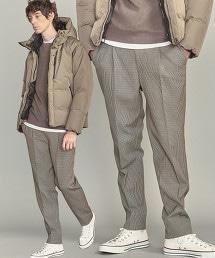 BY 彈性格紋寬版 1P 錐形褲