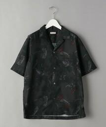 BY 羽毛印花 輕鬆版型 開領花襯衫