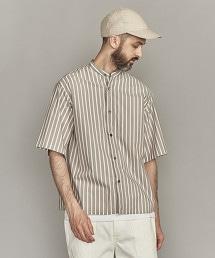 BY 直條紋立領寬版方形襯衫  -MADE IN JAPAN-