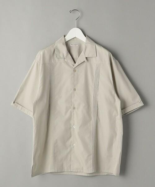 BY 刷毛感 平織 細褶襯衫