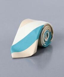 <ERRICO FORMICOLA> 棉蠶絲 斜紋織直條紋 領帶 義大利製