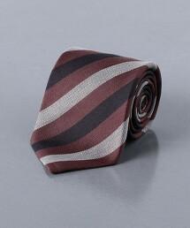 <UNITED ARROWS> 亞麻/蠶絲 仿舊 英式條紋 領帶 日本製