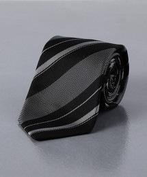<UNITED ARROWS> 黑色 斜條紋 領帶
