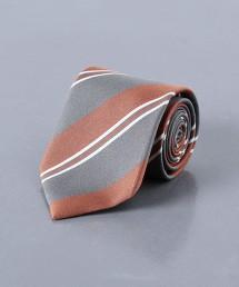 <UNITED ARROWS> 蠶絲混棉 複合 斜條紋領帶 日本製