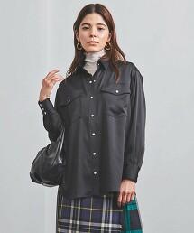 <UNITED ARROWS>色丁布 2口袋 襯衫 日本製