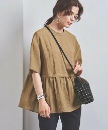 <UNITED ARROWS>褶襇短飾邊 短袖 套頭上衣 2 B 日本製