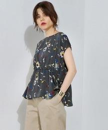 UBCS 花朵印花褶皺短袖上衣