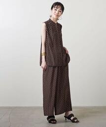 UBC P 印花 抽摺 無袖罩衫 日本製
