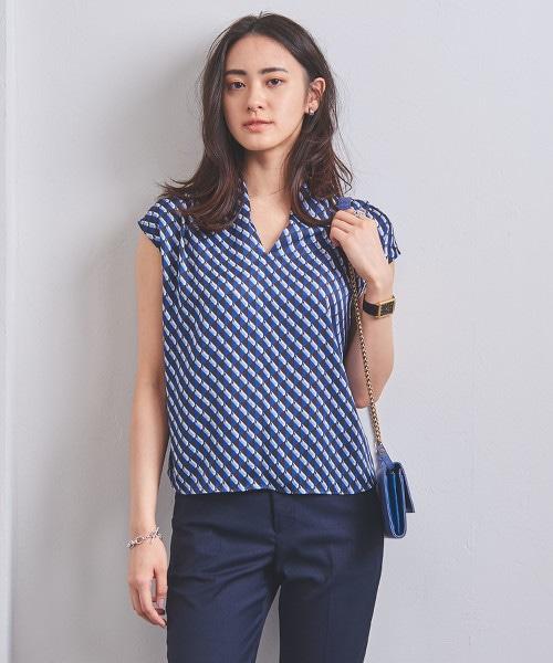 UBCB 幾何學印花 法國袖 罩衫