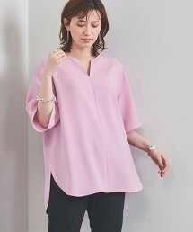 UBC 開衩領 色丁布 罩衫 日本製