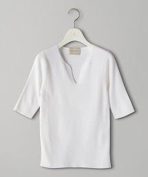 UBCB C/SI 羅紋缺口領 5分袖針織衫