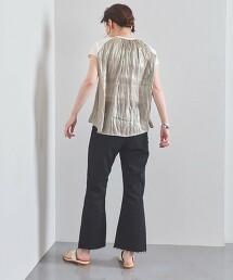 UBC 光澤感 拼接 法國袖 針織上衣