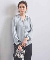 UBCB 色丁布 金屬鈕釦 V領罩衫