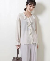 <UNITED ARROWS>波浪摺邊 V領 罩衫 B 日本製