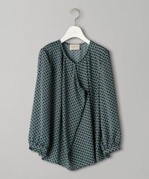 UBCB 幾何學印刷 正面褶邊 8分袖 罩衫
