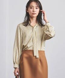<UNITED ARROWS>BK/STN 印花領結 罩衫 B 日本製