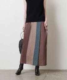 UBC 拚色印花 一片裙 † 日本製