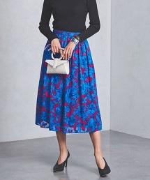 UBCS  剪織緹花布 花朵印花荷葉裙