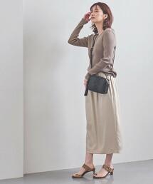 UBC 緞面 碎褶 長版窄裙 日本製
