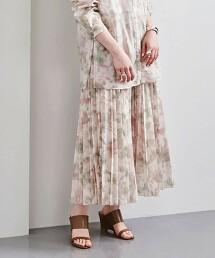 UBC 透膚 印花 褶裙 日本製