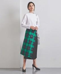 <O'NEIL of DUBLIN>不對襯 格紋褶裙