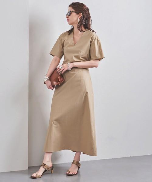 UWFM V領 高密度平織 洋裝†