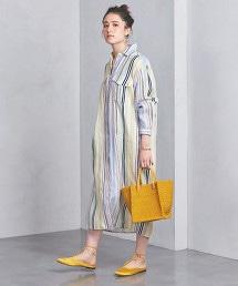 UBCB 亞麻直條紋襯衫式洋裝 †