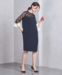 <FLICKA>混紡蕾絲連身裙