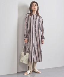 <TICCA>直條紋 無領 襯衫式洋裝 日本製