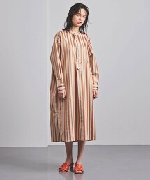 特別訂製<TICCA>直條紋 無領 襯衫式洋裝 日本製