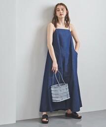 <SACRA>粗藍布 細肩帶洋裝 日本製