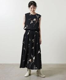 <SACRA>花朵 無袖 洋裝 日本製