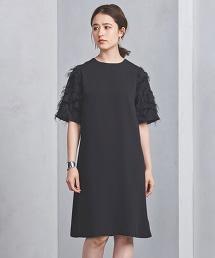 UPCS 剪織緹花布 荷葉袖連身洋裝
