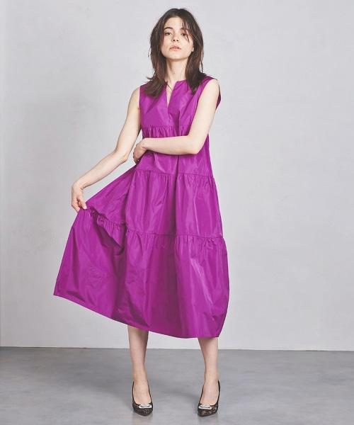 UPCS 緞面碎褶無袖連身裙