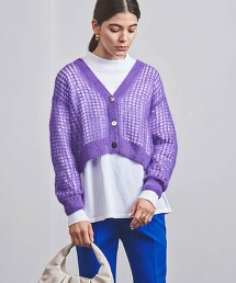 <UNITED ARROWS>馬海毛 網布對襟外套 W 日本製