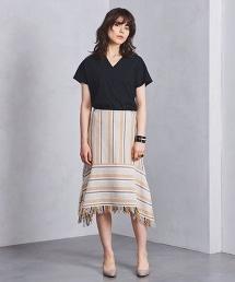 <Yasutoshi Ezumi>條紋拼接及膝裙 OUTLET商品