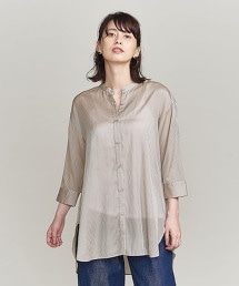BY 陰影條紋8分袖襯衫