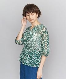 BY 花朵印花 正面鈕釦 6分袖罩衫
