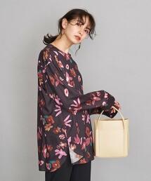 BY 花朵印花 無領襯衫 日本製