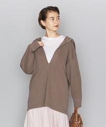 BY 純棉印染 開襟領 連帽束腰上衣/衛衣