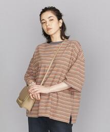 BY 圓領 隨機橫條紋 6分袖 T恤 日本製