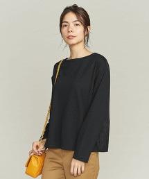 BY 羅馬布×背面刺繡船型領T恤