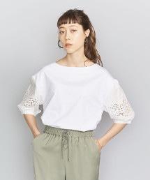 BY 棉×鏤空花邊細袖上衣