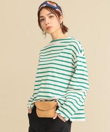 BY∴ 寬條紋泡泡袖船型領T恤