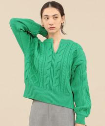 BY∴ 羊毛麻花開襟領針織毛衣