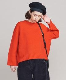 BY 羊毛開衩圓領針織毛衣