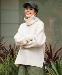 BY∴ 喀什米爾羊毛 慵懶高領針織毛衣