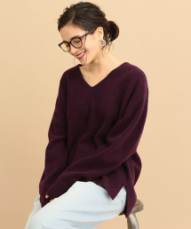 BY∴ 喀什米爾羊毛 慵懶V領針織毛衣