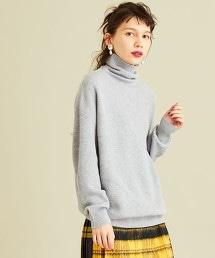 BY 羊毛畦編寬版高領針織衫
