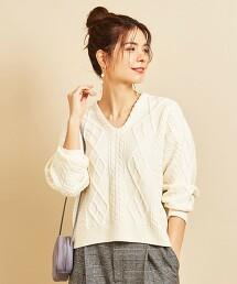 BY 繩紋短版寬鬆V領針織毛衣